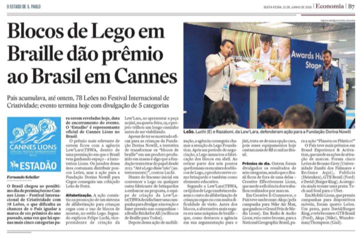 Estadão: Blocos de Lego em Braille dão prêmio de inovação ao Brasil em Cannes