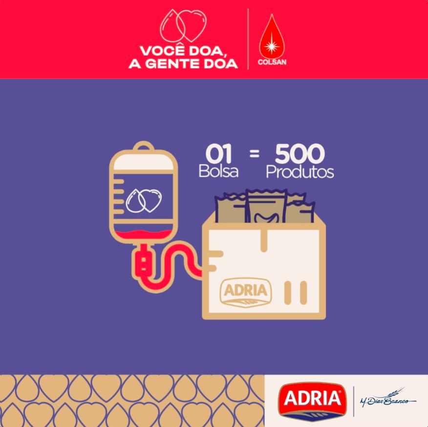 Adria convida à doação de sangue e multiplica arrecadação em alimentos